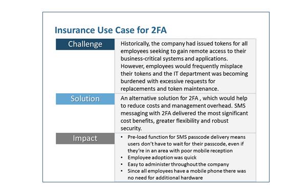 Insurance use case for 2FA